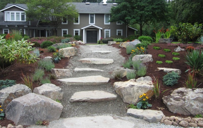 25 rock garden designs landscaping ideas for front yard for Garden landscaping ideas for large gardens