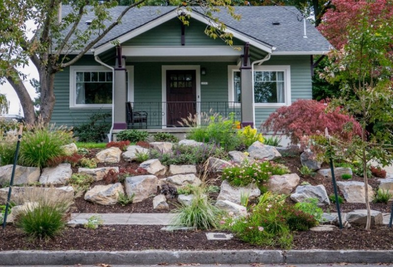 Ideas For Landscaping Front Yard Part - 42: Rock Garden Designs Front Yard