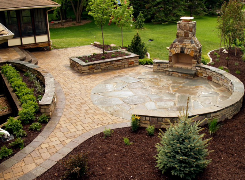 20 best stone patio ideas for your backyard home and for Patio garden ideas photos