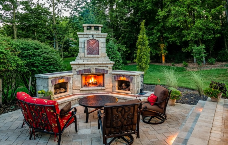 Outdoor Fireplace Stone Patio