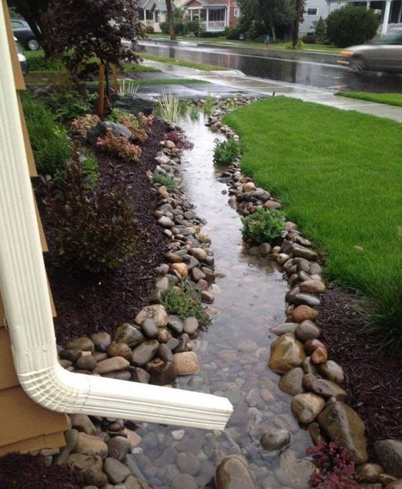 Gutter system created out of rocks