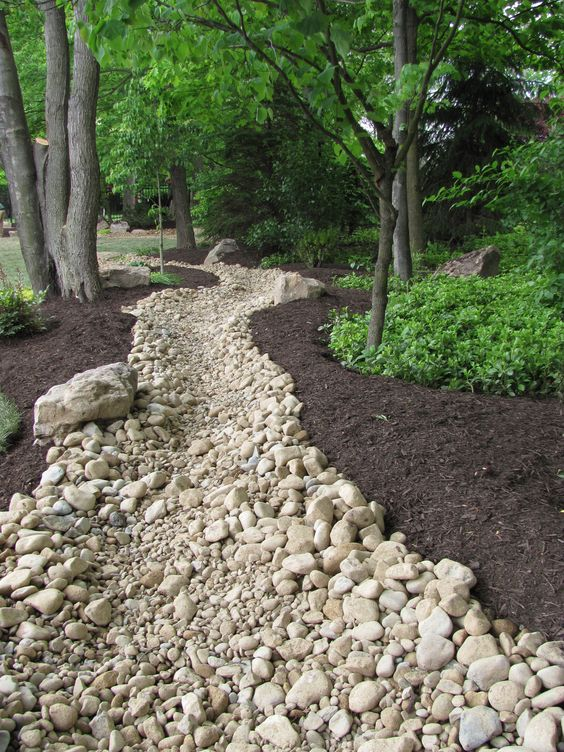 Riverbed made completely out of rocks