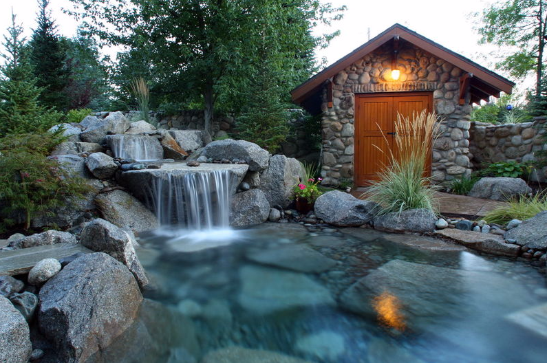 Rock shed with waterfall