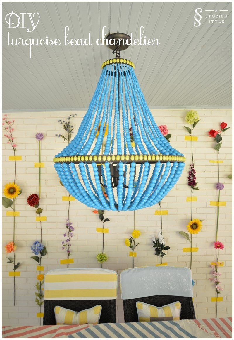 chandelier with yellow and turquoise elements
