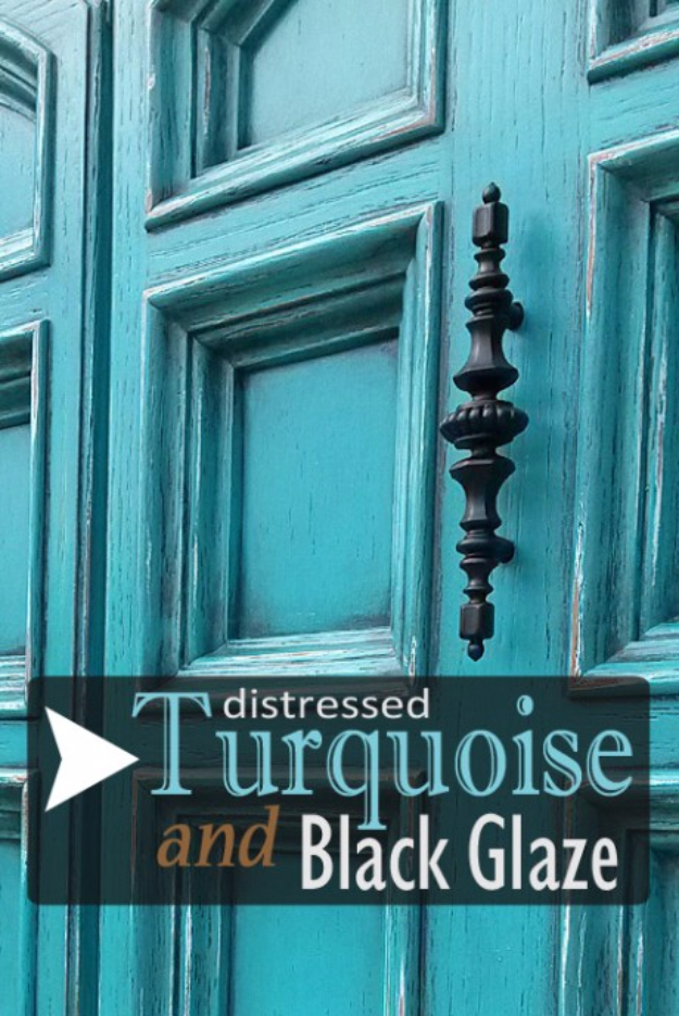 one of a kind turquoise door