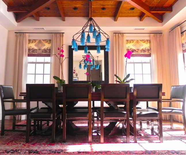 turquoise chandelier in large room