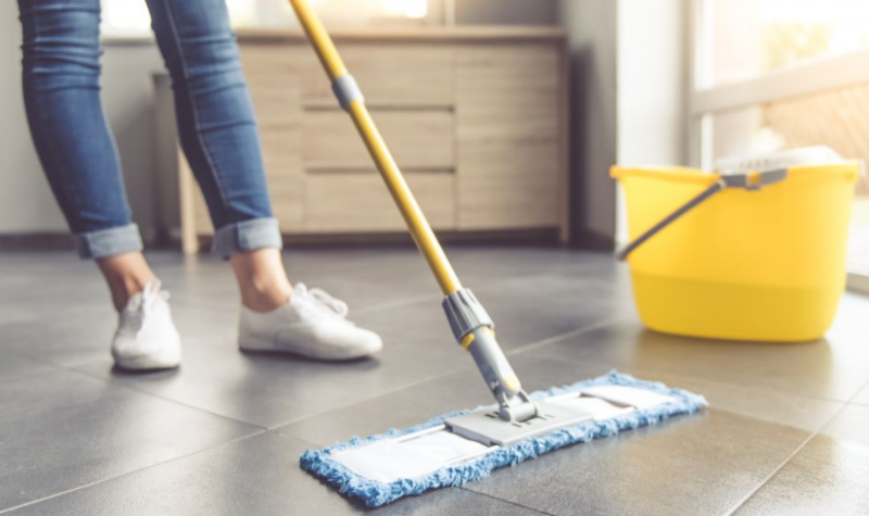 The Treatment By Mopping Tile Floor
