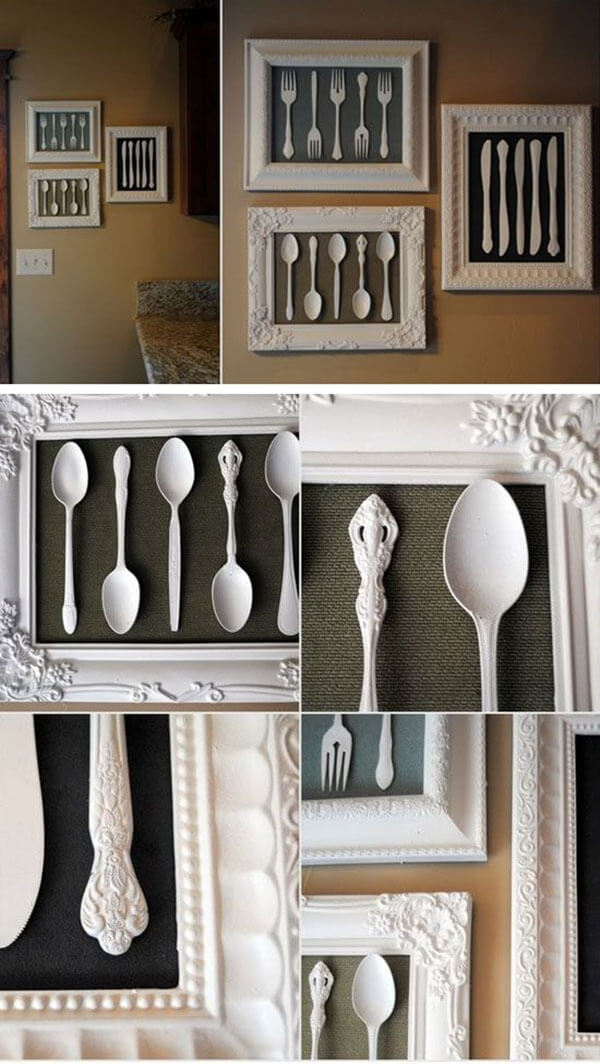 kitchen-wall-decor-ideas The cutlery frame