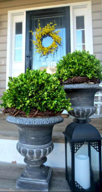 Footed Planters with Boxwood and Wreaths