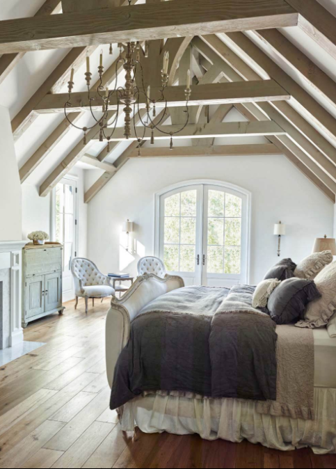 Oversized Chandelier and Exposed Beams