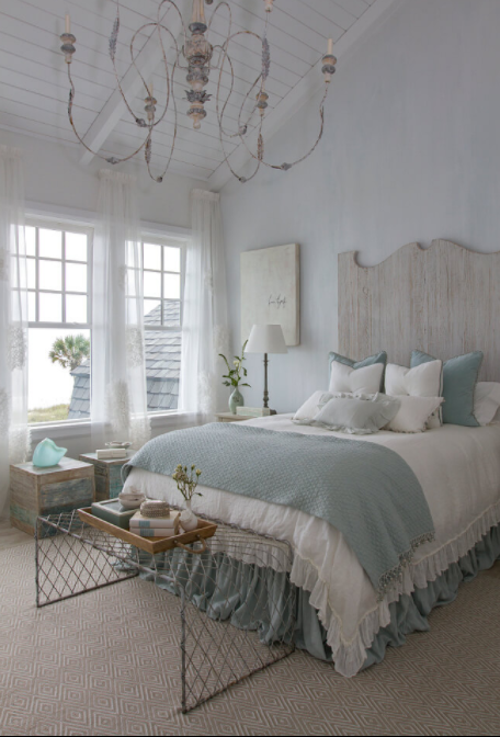Relaxing Blue and White Room with Chandelier