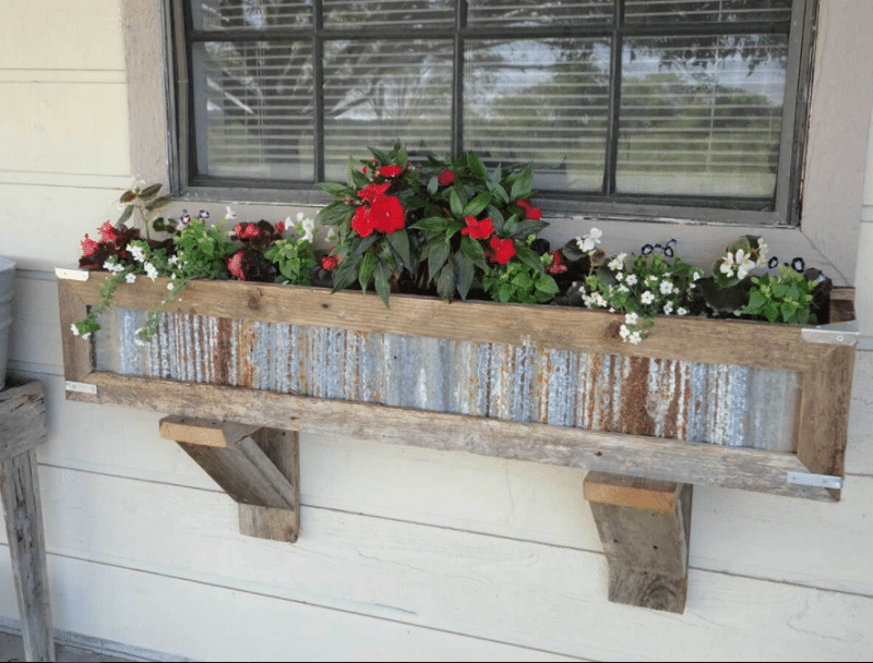 Rustic Metal Box Framed With Barn Wood