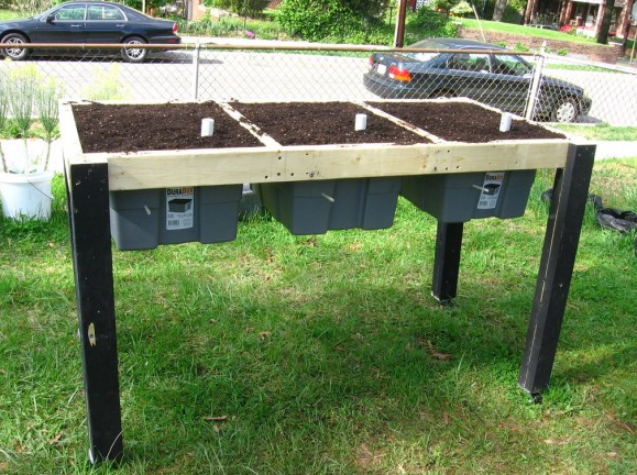 "Self-watering Plastic Bin Raised Garden ""Salad Table"" Tutorial"