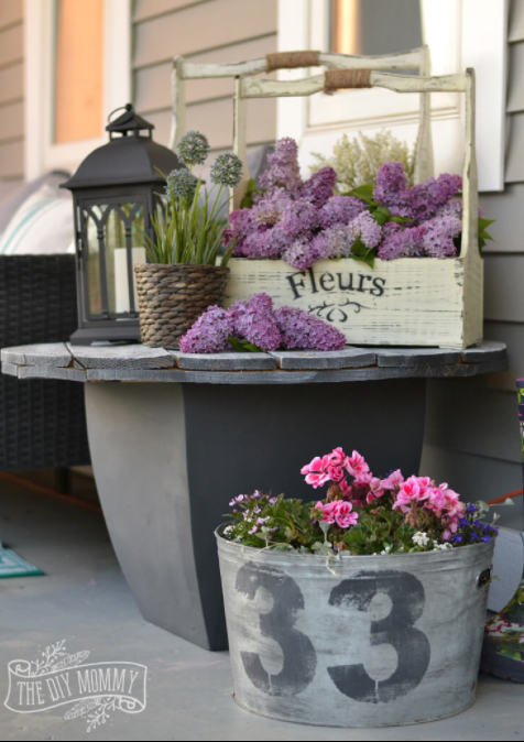 Sophisticated Porch Planter Ideas with Lilacs