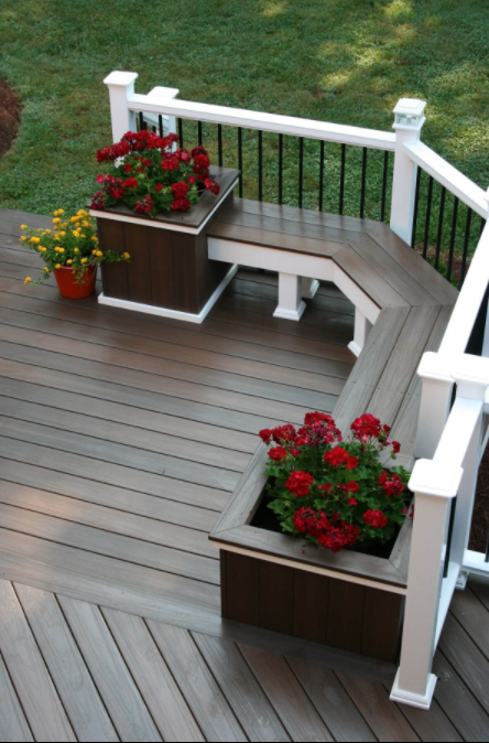 Deck Bench with Built-In Planters