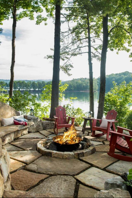 A Rustic Fire Overlooking the Lake