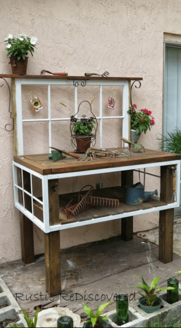 Old Window Outdoor Decor Idea for Benches
