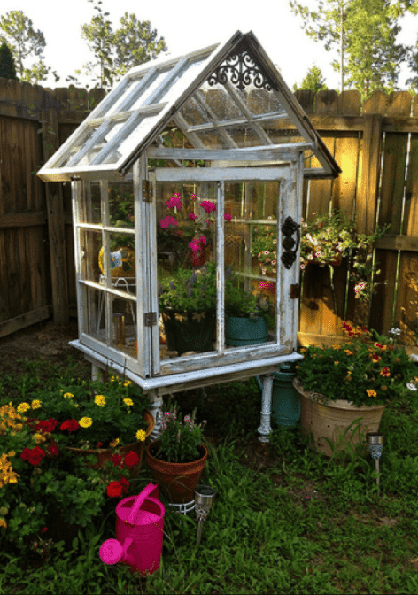 Old Windows Made Into a Greenhouse