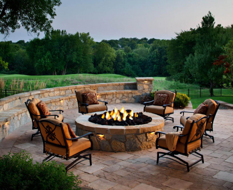 Sandstone Patio Firepit with Rolling Hills