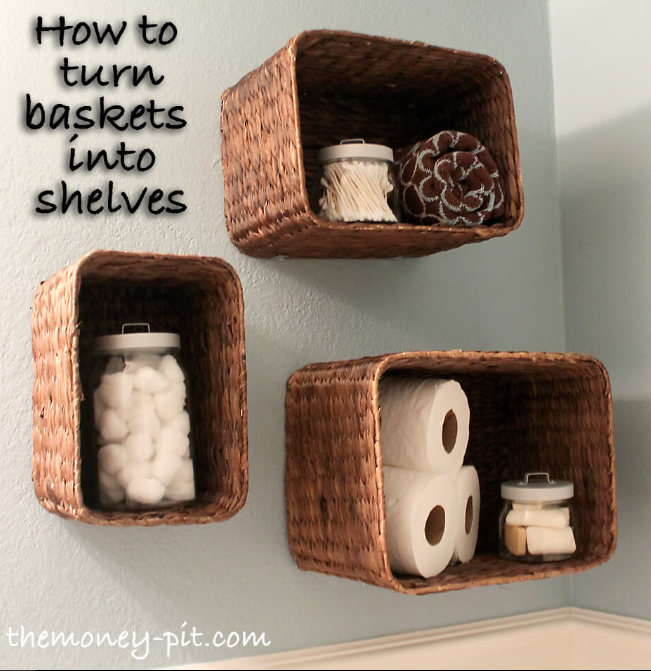 Upside Down Refashioned Basket Shelves