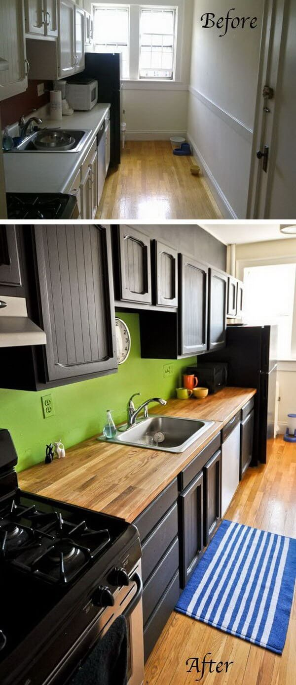Wooden Countertops with a Lime Green Backsplash