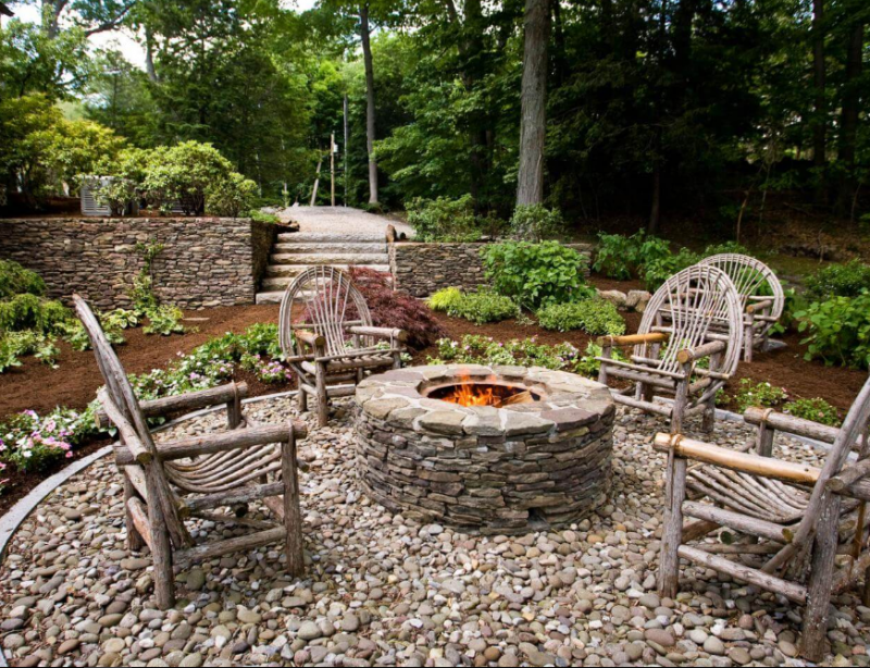 Wooden Seats Around a Stone Firepit