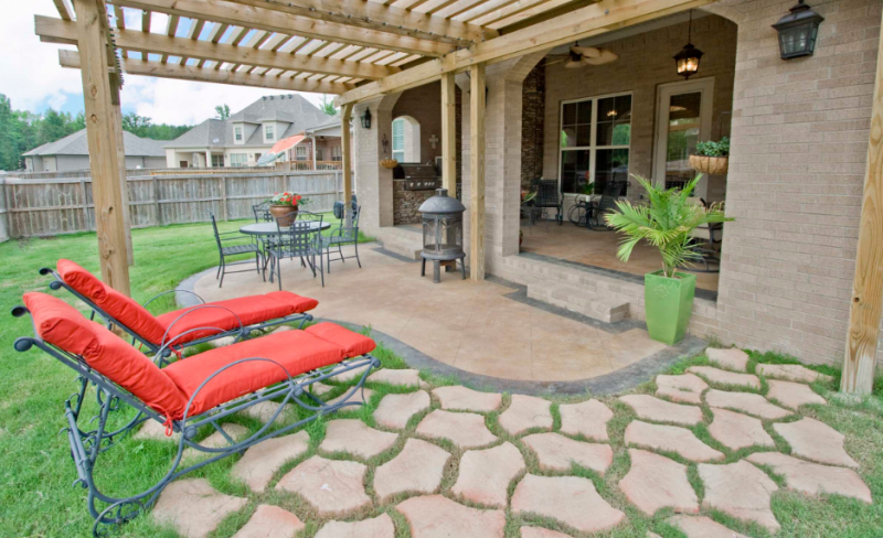 Curved patio rectangular