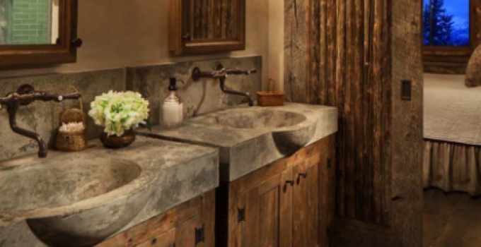 Rustic Bathroom Décor with Concrete Sinks and Barn Door