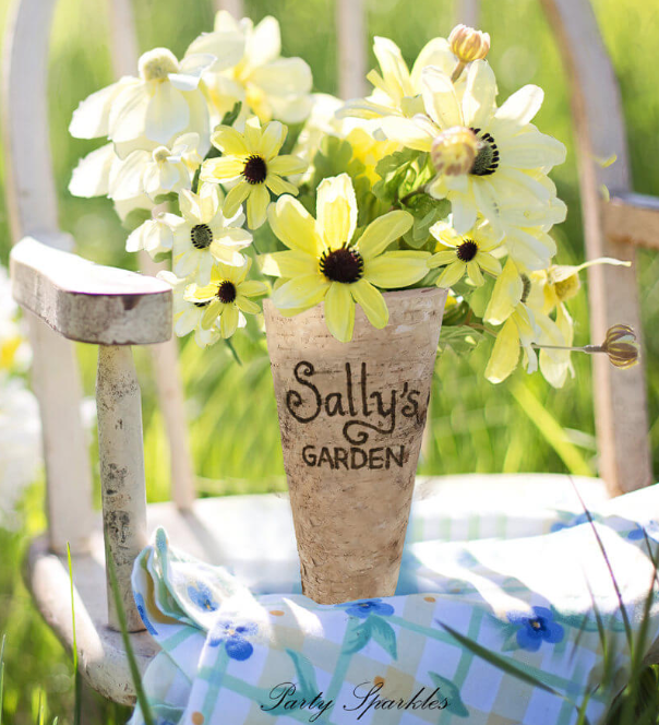 Farmhouse Garden-Inspired Customized Birch Vase
