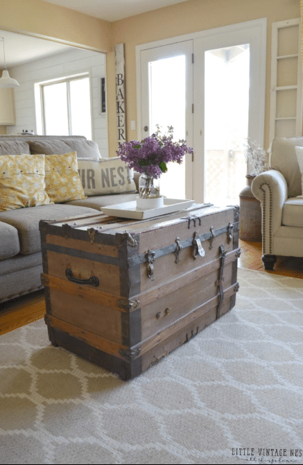 Large Antique Steamer Trunk Coffee Table