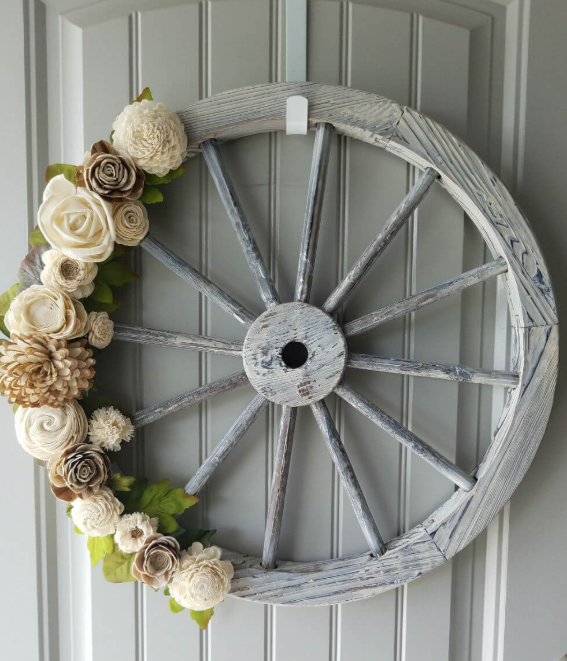 Lovely Handmade Wood Flower Wagon Wheel Wreath