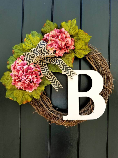 Summer Twig and Flower Monogram Door Wreath
