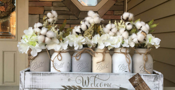 Sweet Southern Cotton and Mason Jar Centerpieces