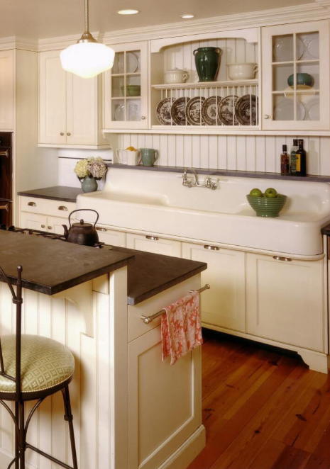 Vintage Kitchen - Schoolhouse Light Meets Farmhouse Sink