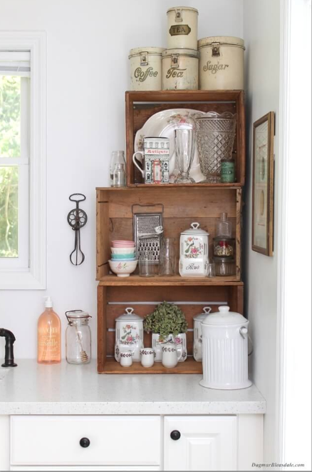 Vintage Kitchen - Stack Crates for Easy Corner Storage