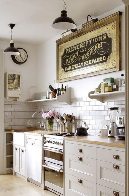 Vintage Kitchen - Stenciled Signage and Industrial Lighting
