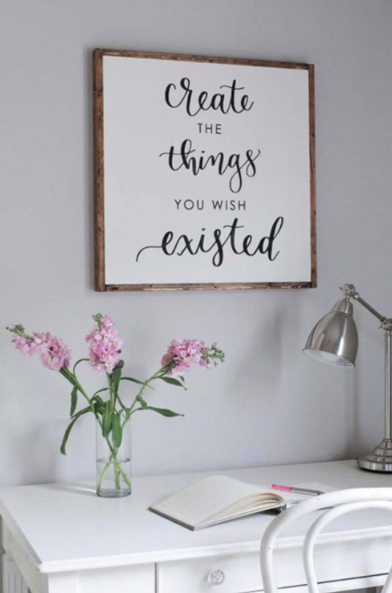 Framed Wood Sign with Calligraphy Quote