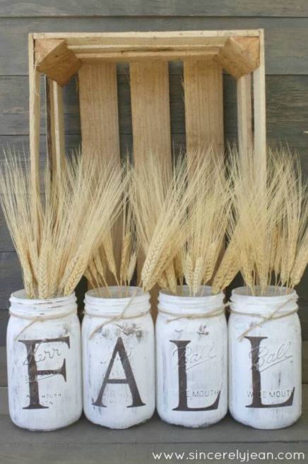 White Home Decor Idea Rustic Mason Jar