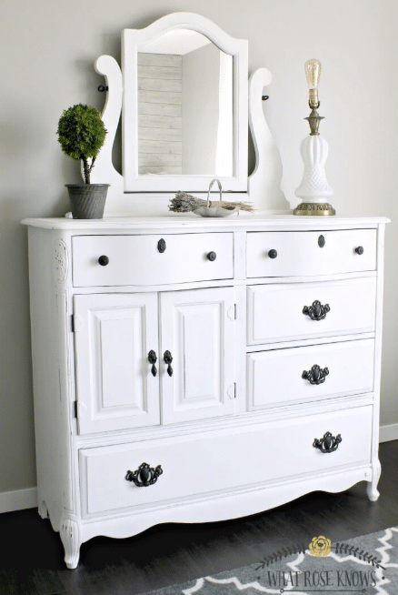 White Home Decor Idea Upcycled Dresser