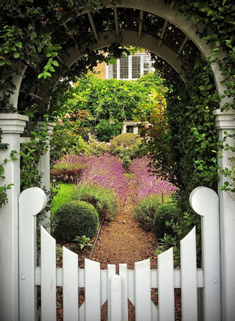 Concave Picket Gate - flower garden gate ideas