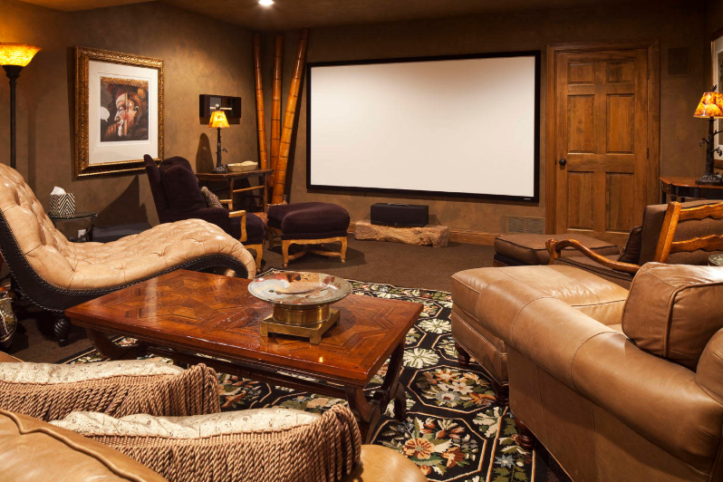 Eclectic Home Theater Design