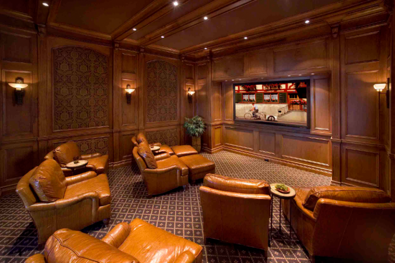 Mediterranean Luxury Home Theater Design