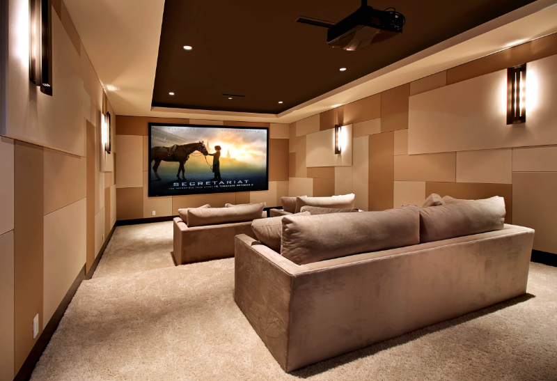 Modern Geometric Home Theater Design