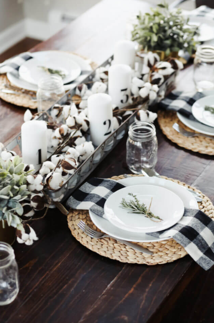 Mostly Black and White With Touches of Green - Christmas Table Decoration