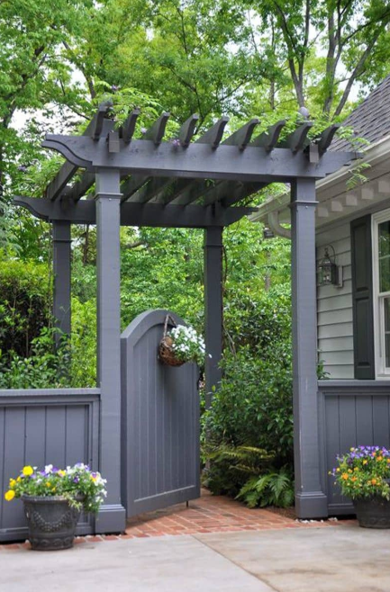 flower garden gate ideas - Slate Grey Pergola