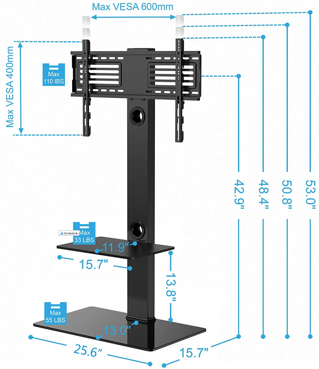 FITUEYES Floor tv Stand with Mount Two Shelves