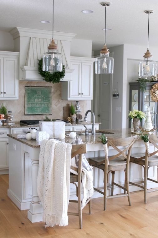 Farmhouse Chic Glass and Wood Pendant Lights