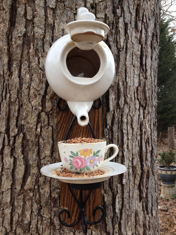 Tea Pot Birdfeeder And House