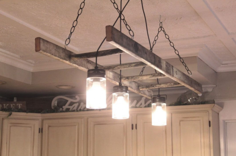 Wooden Ladder and Mason Jar Chandelier