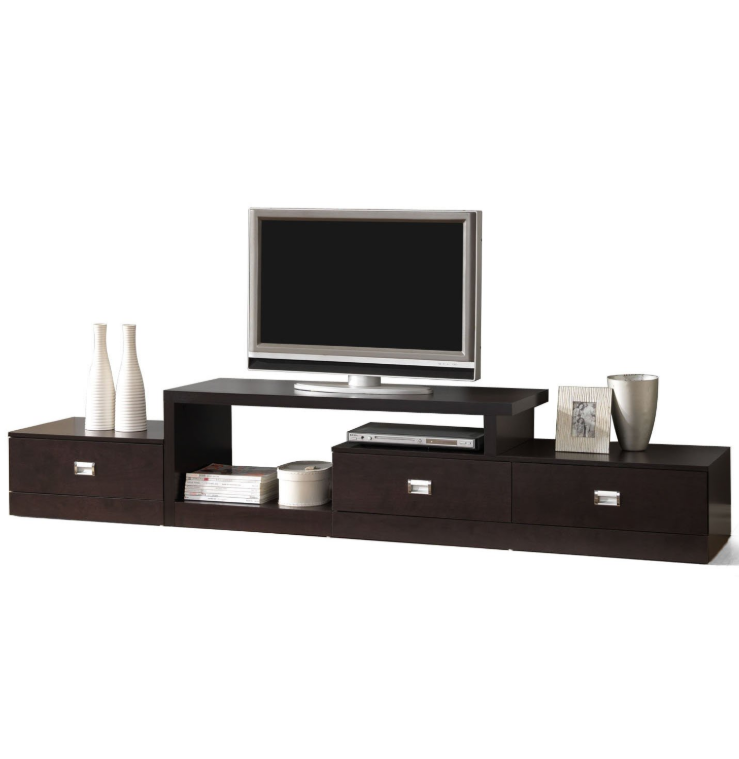 Wooden Tv Stands - Baxton Studio Marconi Brown Asymmetrical Modern TV Stand